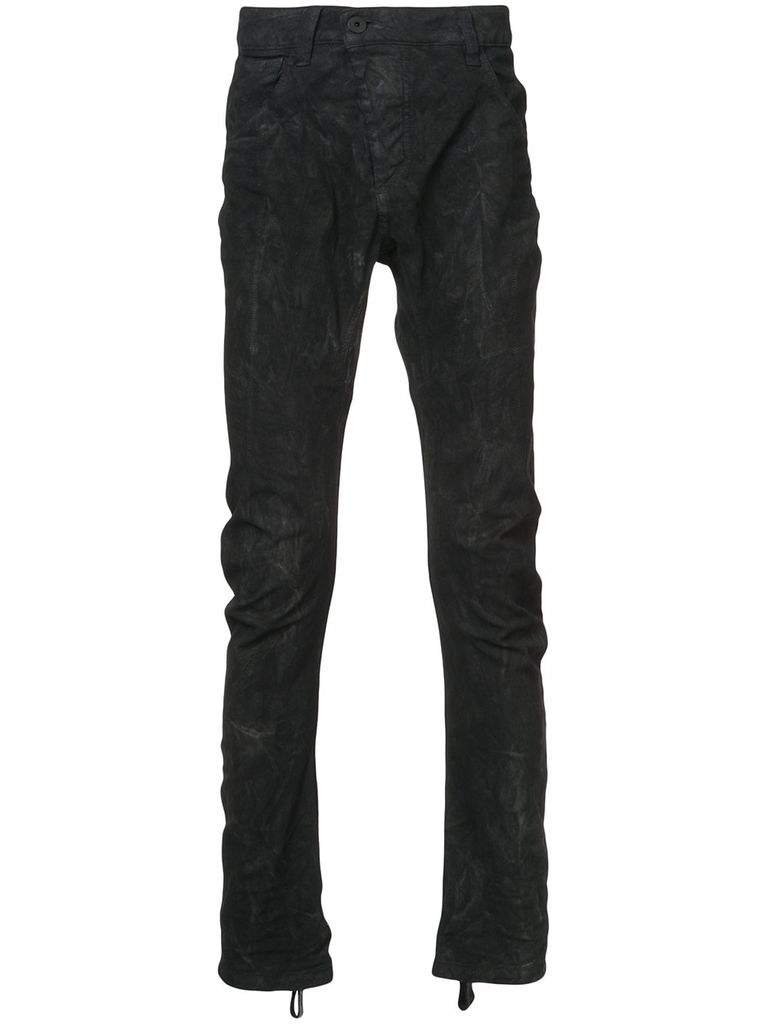 11 BY BORIS BIDJAN SABERI 11 BY BORIS BIDJAN SABERI MEN WAXED CURVED LEG PANTS