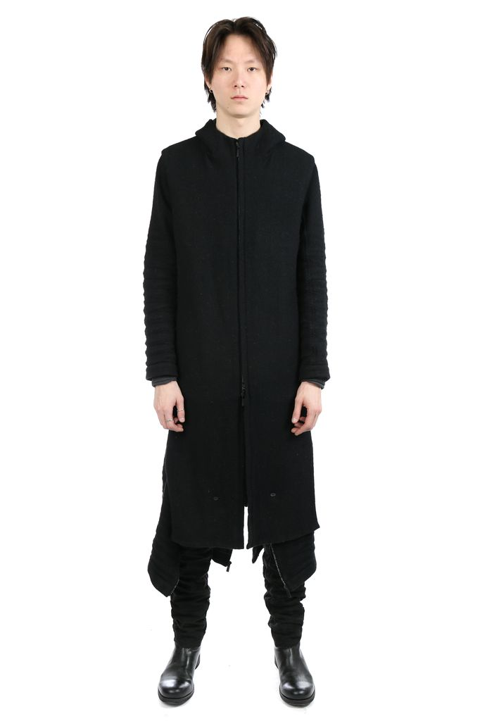 LAYER-0 LAYER-0 MEN HOODED TRENCH COAT WITH LEG WARMER
