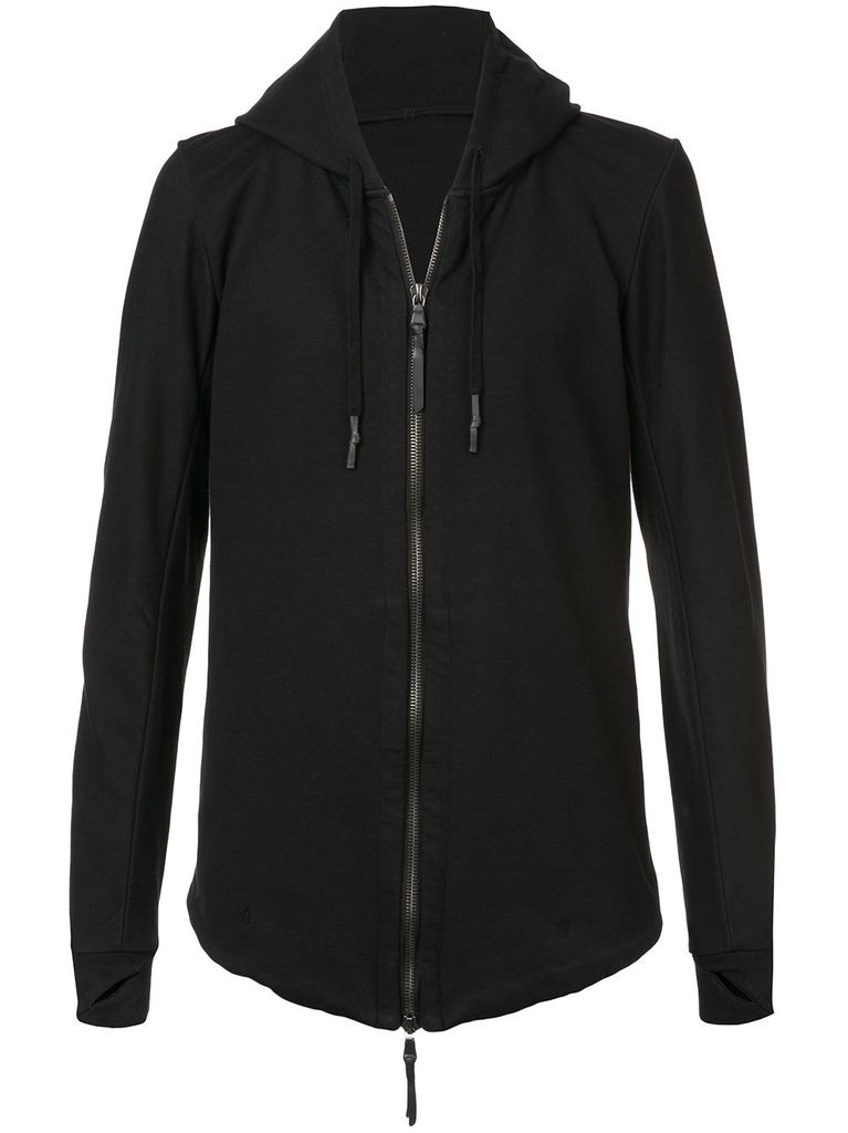 11 BY BORIS BIDJAN SABERI 11 BY BORIS BIDJAN SABERI MEN BLURRED LOGO PRINT ZIP UP HOODIE