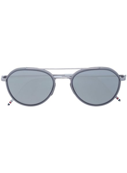 THOM BROWNE THOM BROWNE DITA EYEWEAR TB-801 SHINY SILVER - SATIN CRYSTAL GREY WITH DARK GREY - SILVER MIRROR - AR
