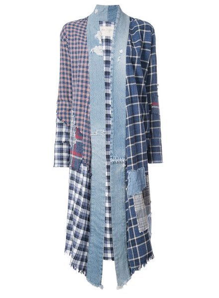 GREG LAUREN GREG LAUREN WOMEN PATCHWORK PLAID/VINTAGE DENIM STRIPE LONG KIMONO