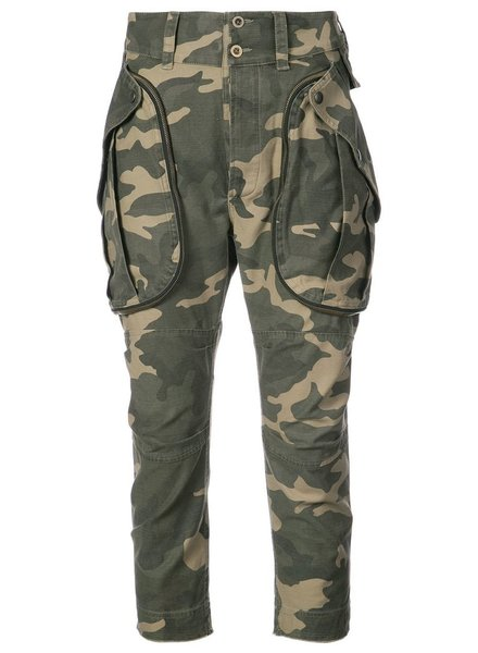 FAITH CONNEXION FAITH CONNEXION WOMEN CARGO PANTS CAMOUFLAGE CANVAS