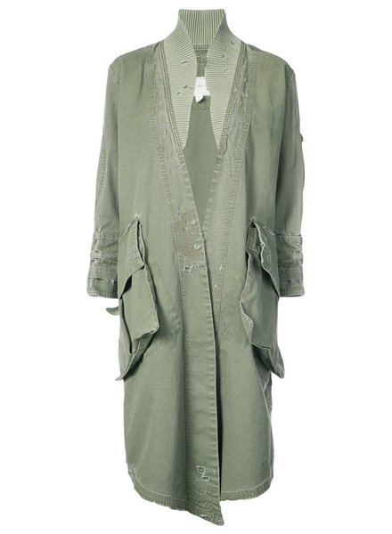 GREG LAUREN GREG LAUREN WOMEN ARMY RIPSTOP LONG FLIGHT KIMONO WITH RIB