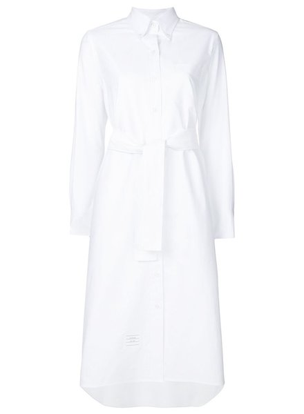 THOM BROWNE THOM BROWNE WOMEN LONG SLEEVE A-LINE BELTED SHIRTDRESS IN OXFORD
