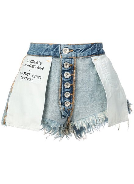 UNRAVEL PROJECT UNRAVEL WOMEN STONE DENIM REVERSE SHORTS