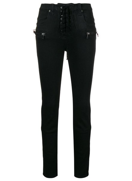 UNRAVEL PROJECT UNRAVEL WOMEN WAX DENIM LACE UP SKINNY DENIM