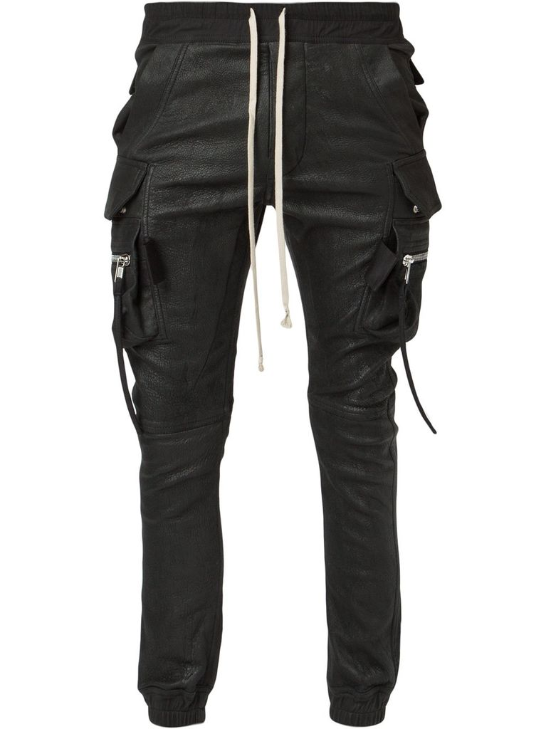 RICK OWENS RICK OWENS MEN LEATHER CARGO JOGGER PANT