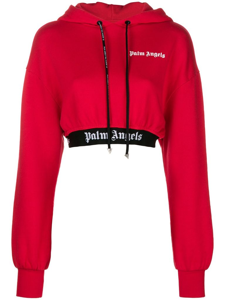 PALM ANGELS PALM ANGELS WOMEN NEW BASIC CROPPED HOODIE