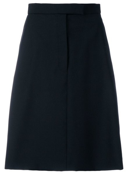 THOM BROWNE THOM BROWNE WOMENS HIGH WAIST A LINE SKIRT WITH SIDE BUTTON