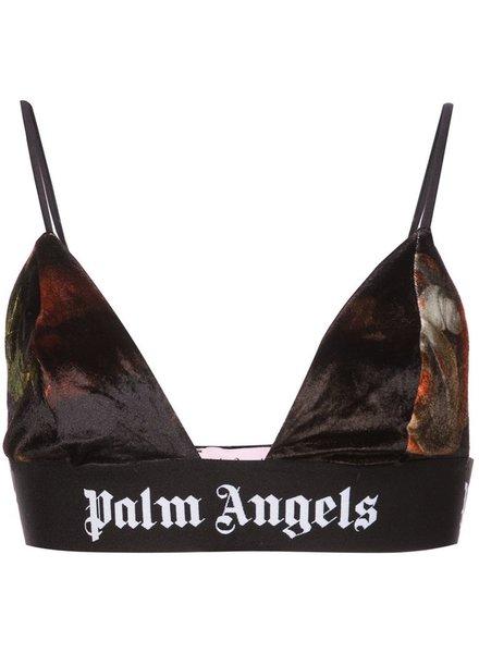 PALM ANGELS PALM ANGELS WOMEN CHENILLE LOGO TAPE BRA