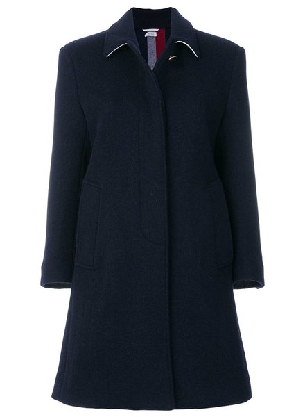 THOM BROWNE THOM BROWNE WOMEN UNLINED BAL COLLAR OVERCOAT WITH DOUBLE VENT & RWB STRIPE
