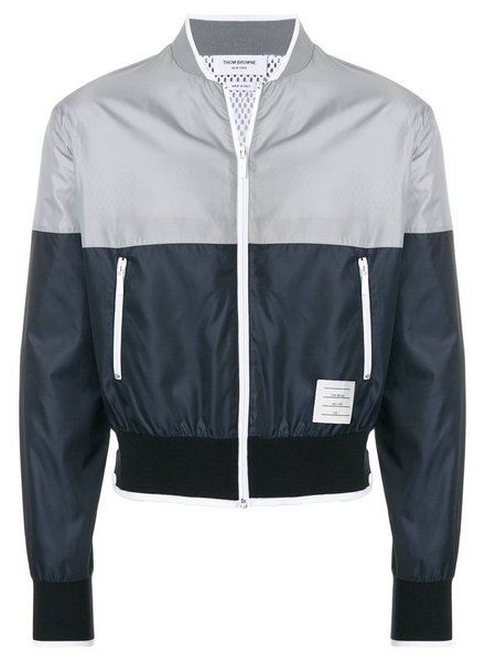 THOM BROWNE THOM BROWNE MEN BICOLOR 1/2 & 1/2 BOMBER W/ TIPPING STRIPE IN RIPSTOP