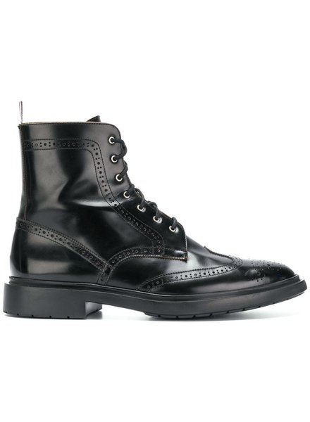 THOM BROWNE THOM BROWNE MEN CLASSIC WINGTIP BOOT W/ TONAL WINTERIZED LIGHTWEIGHT RUBBER SOLE IN SPAZZALATO