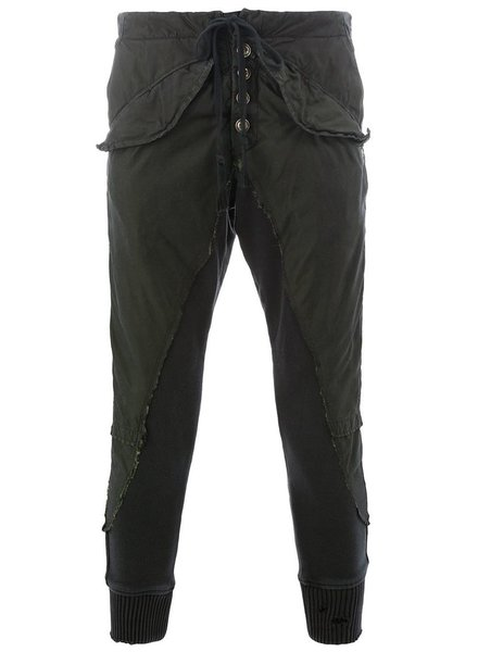 GREG LAUREN GREG LAUREN MEN BLACK FISHTAIL PARKA FLEECE SLIM LOUNGE PANT