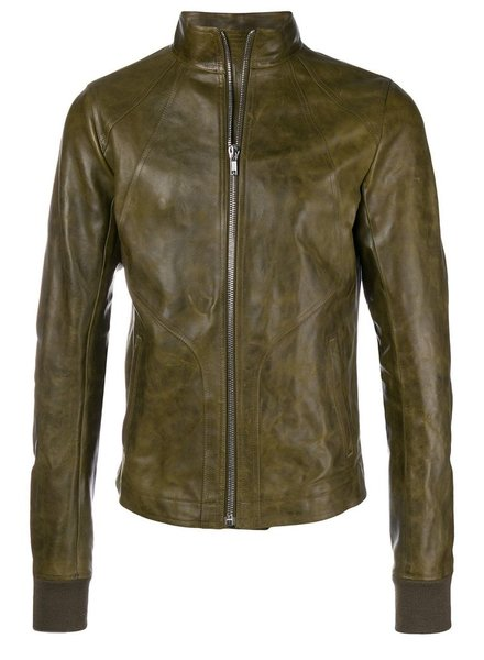 RICK OWENS RICK OWENS MEN INTARSIA HIGH NECK HORSE LEATHER JACKET