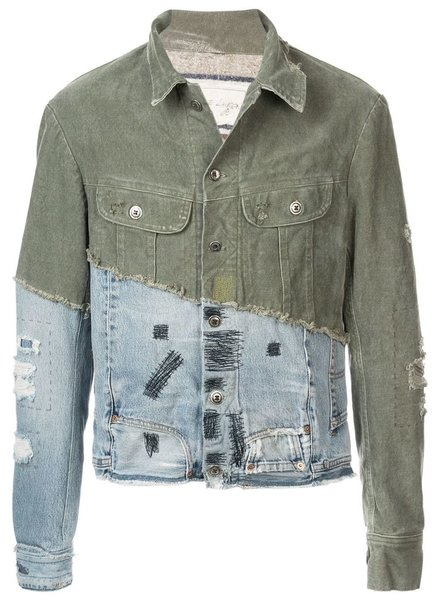 GREG LAUREN GREG LAUREN WOMEN 50/50 ARMY DUFFLE / VINTAGE DENIM TRUCKER JACKET