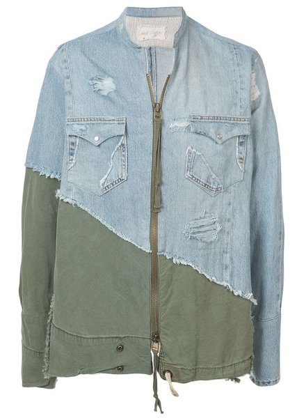 GREG LAUREN GREG LAUREN MEN VINTAGE DENIM / ARMY TENT ZIP FRONT STUDIO SHIRT