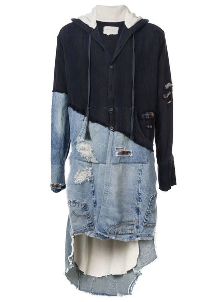 GREG LAUREN GREG LAUREN MEN 50/50 VENICE NIGHT / VINTAGE DENIM LONG BAJA STUDIO HOODIE