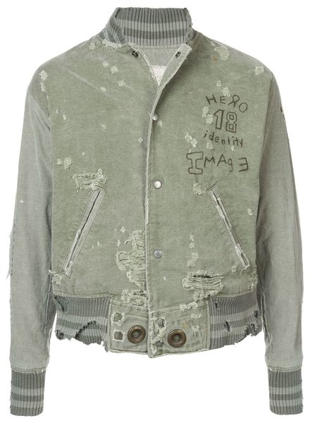 GREG LAUREN GREG LAUREN MEN ARMY DUFFLE VARSITY JACKET
