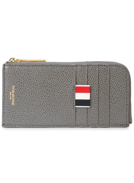 THOM BROWNE THOM BROWNE UNISEX BICOLOR HALF ZIP AROUND WALLET IN PEBBLE GRAIN
