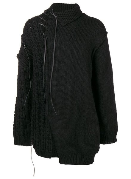 YOHJI YAMAMOTO POUR HOMME YOHJI YAMAMOTO POUR HOMME LEATHER STRING TURTLE NECK SWEATER