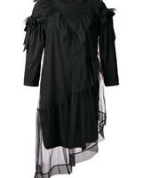 SIMONE ROCHA SIMONE ROCHA WOMEN RUFFLE FRONT TULLE T-SHIRT DRESS