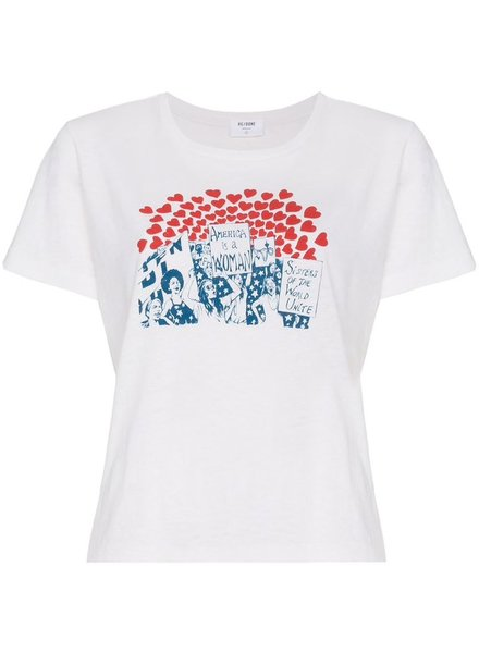 REDONE RE/DONE WOMEN CLASSIC TEE WORLD GRAPHIC