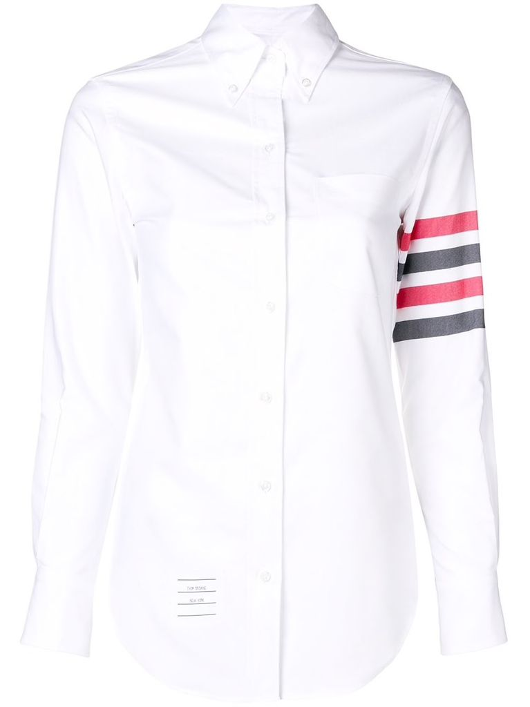 THOM BROWNE THOM BROWNE WOMEN CLASSIC LONG LEEVE BUTTON DOWN POINT COLLAR SHIRT IN SOLID OXFORD WITH WOVE 4 BARS