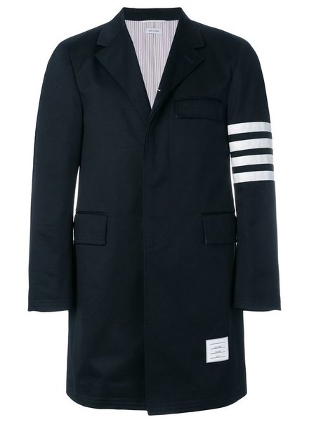 THOM BROWNE THOM BROWNE MEN UNCONSTRUCTED CLASSIC CHESTERFIELD OVERCOAT (35-) W/ SEAMED IN 4 BAR STRIPE IN COTTON TWILL