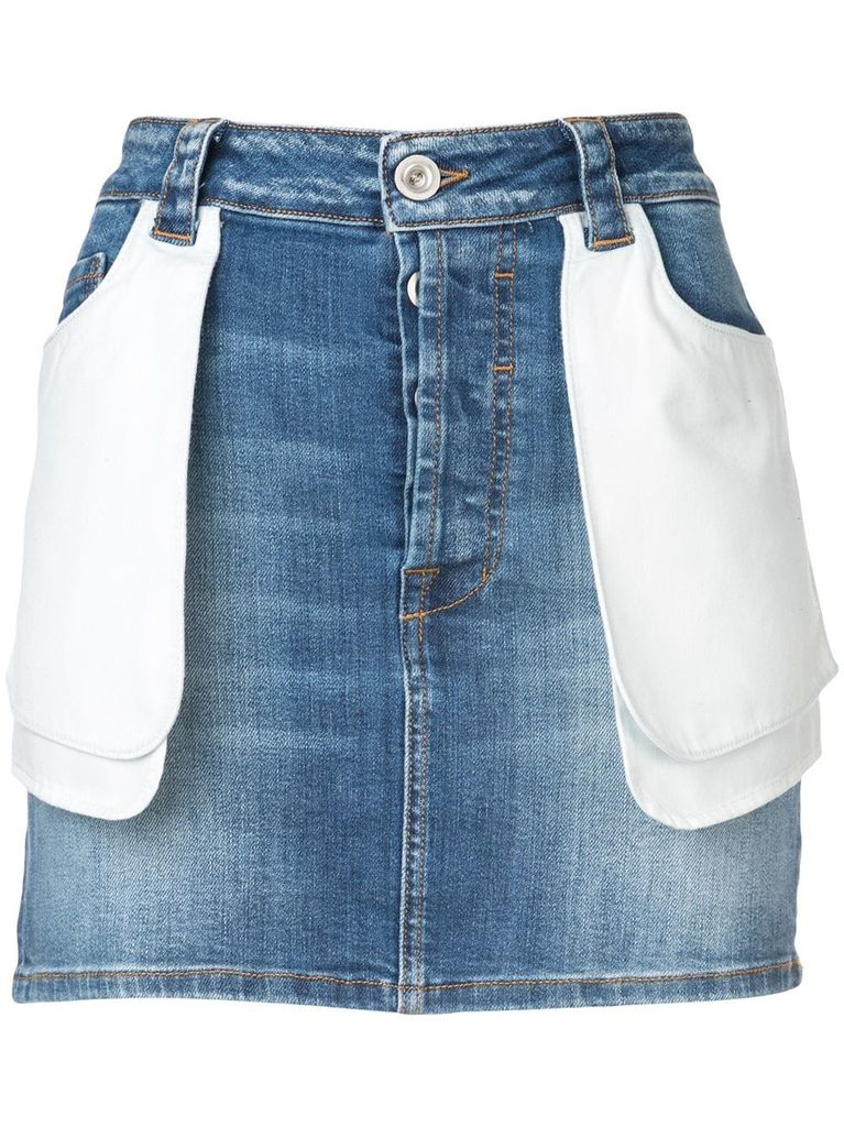 UNRAVEL PROJECT UNRAVEL WOMEN STONE IN DENIM DOUBLE POCKETS SKIRT