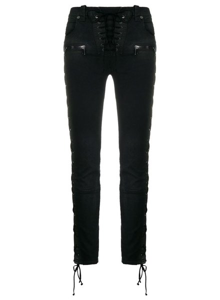UNRAVEL PROJECT UNRAVEL WOMEN WAX DENIM SIDE LACE UP SKINNY JEANS