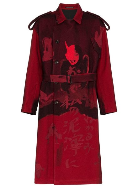 YOHJI YAMAMOTO POUR HOMME YOHJI YAMAMOTO POUR HOMME MEN PRINTED FLANNEL TRENCH