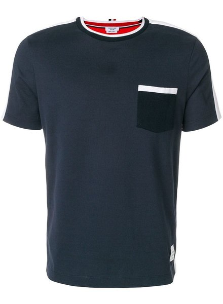 THOM BROWNE THOM BROWNE MEN BICOLOR 1/2 & 1/2 SS TEE IN MEDIUM WEIGHT JERSEY COTTON