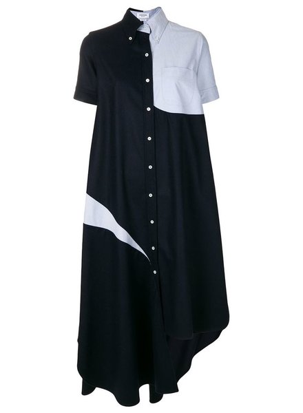 THOM BROWNE THOM BROWNE WOMEN SLASHED SHIRTDRESS WITH OXFORD IN FLANNEL