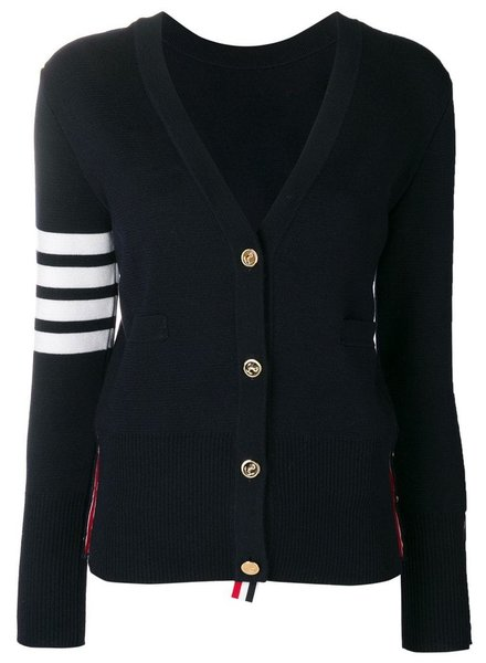 THOM BROWNE THOM BROWNE WOMEN BACK TO FRONT MILANO V NECK CARDIGAN WITH 4 BAR STRIPE IN FINE MERINO WOOL