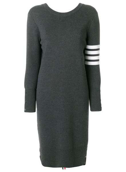 THOM BROWNE THOM BROWNE WOMEN BACK TO FRONT MILANO V NECK CARDIGAN DRESS WITH 4 BAR STRIPE IN FINE MERINO WOOL