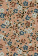 "Japan Yuzen 1446, 19"" x 25"", Beige/Circle Flowers"