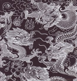 "Nepal Dragon Beasts, White on Black, 20"" x 30"""