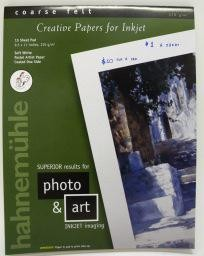 "Germany Hahnemuhle Soft White, Coarse Felt,  Creative Papers for Inkjet, 210 gm, 8.5"" x 11"", 15 Sheet Pad"