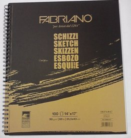 "Italy Schizzi Sketch Pad, 14""x17"", 100 Sheets, 90gm Fabriano Paper, Spiral Bound-Micro Perforated"