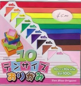 Japan Origami, , 10 Different Colors at 10 Different Sizes = 100  Sheets of Origami