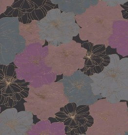 "India Flower Outlines Black, Blue, Violet, 22"" x 30"""