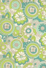 "India Flower Paisley Lime Blue, 22"" x 30"""