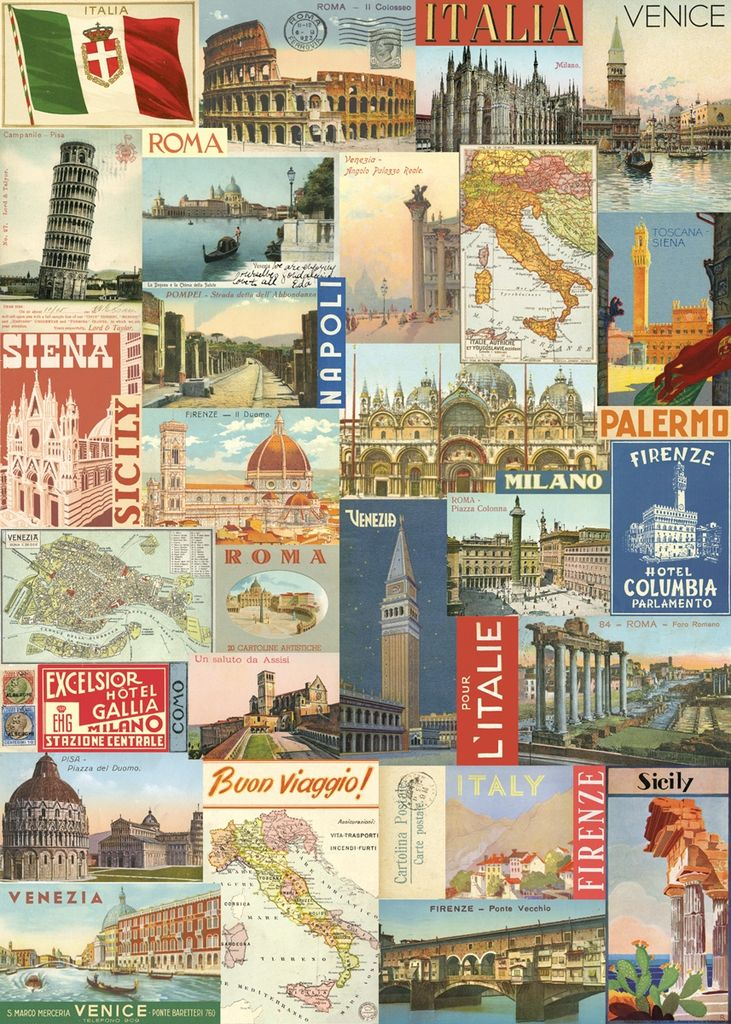 "Italy Cavallini Print, Italy Post Card, 20"" x 28"""