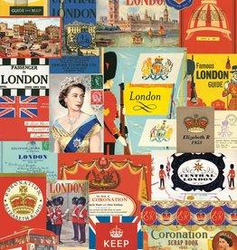 "Italy Cavallini Print, London Postcards, 20"" x 28"""