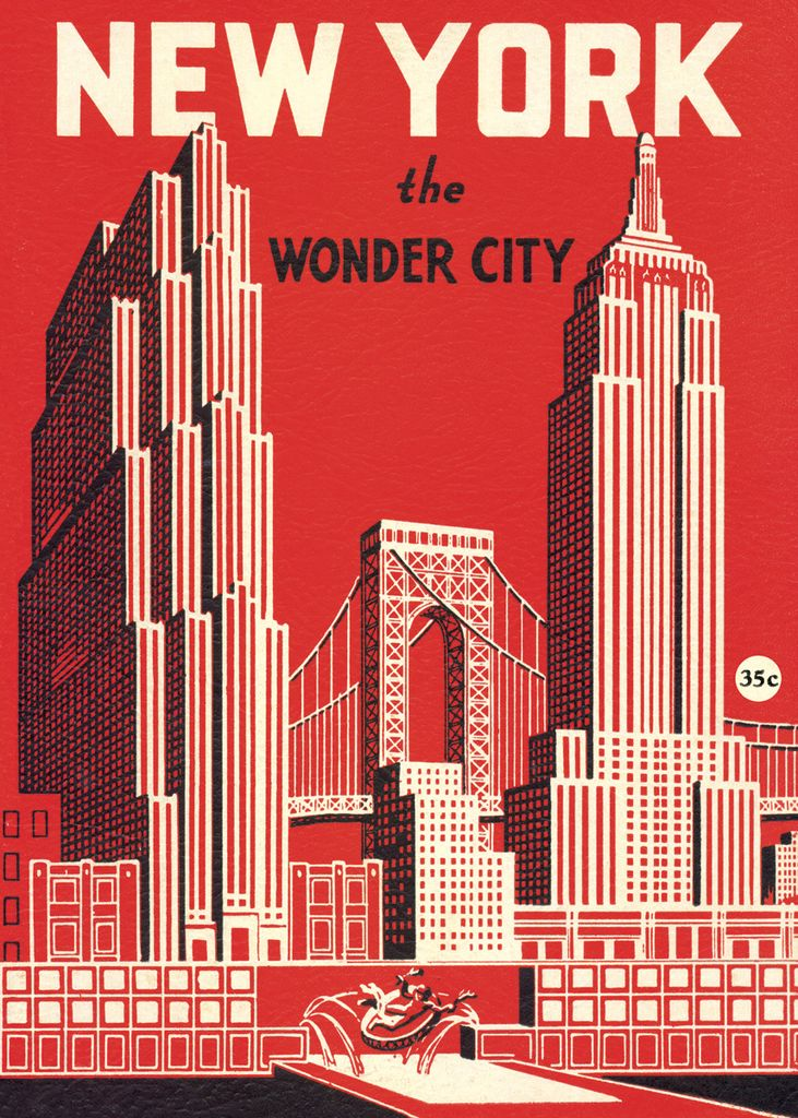 "Italy Cavallini Print, New York Wonder City Map, 20"" x 28"""