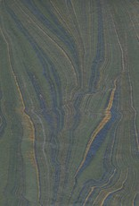 """India Indian Marble, Feather Design, Green Blue with Gold, 22"""" x 30"""""""