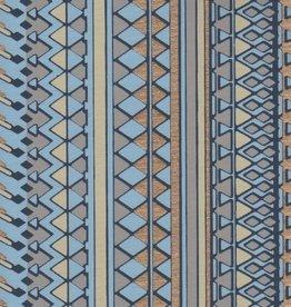 "India Egyptian Diamond Design, Blue, Grey, Gold on Blue, 22"" x 30"""