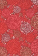 "India Flower Circles Gold, Silver on Red, 22"" x 30"""