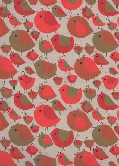 "India Sewn Birds Red, Gold on Natural, 22"" x 30"""